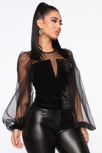 Glam Queen Blouse - Black Angle 3