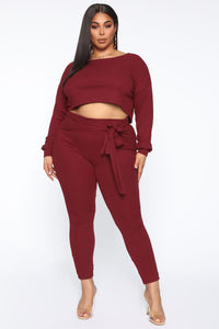 Just My Chill Tie Front Set - Burgundy Angle 9