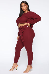 Just My Chill Tie Front Set - Burgundy Angle 11