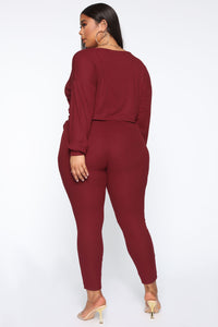Just My Chill Tie Front Set - Burgundy Angle 13