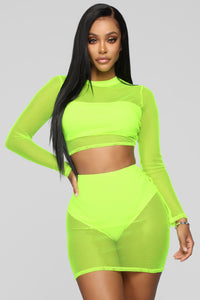 Light Of Your Life Fishnet Set - Neon Yellow Angle 1