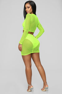 Light Of Your Life Fishnet Set - Neon Yellow Angle 5