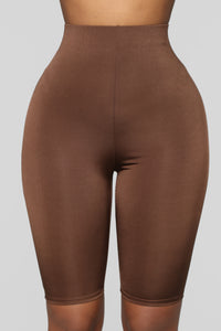 Feeling Myself Slinky Biker Shorts - Brown