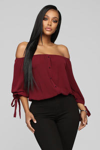 Larger Than Life Crop Top - Burgundy