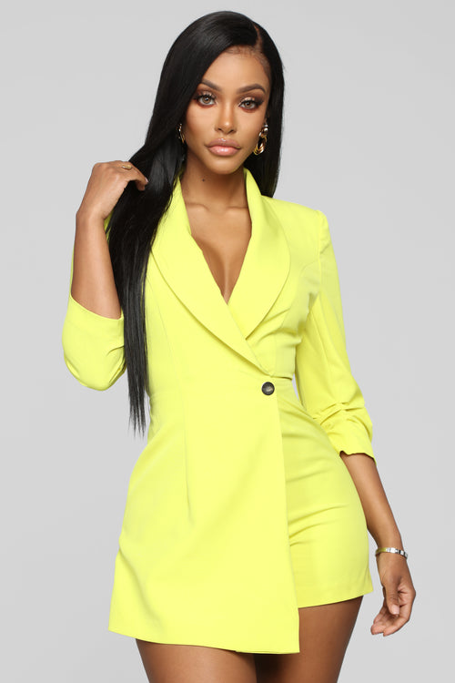 Invading Your Privacy Blazer Romper - Neon Yellow