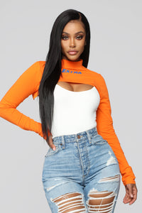 Extra Cropped Top - Orange Angle 1
