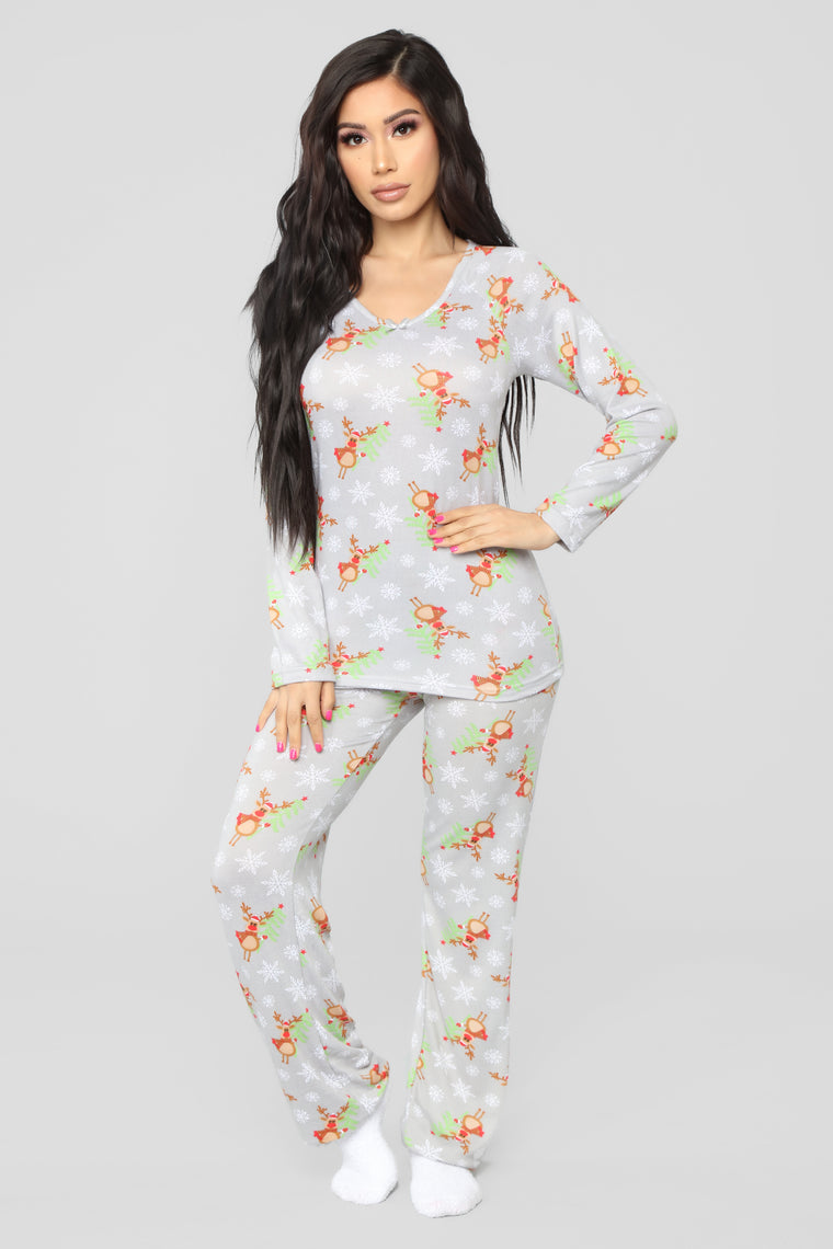 Be My Reindear PJ Set - Grey
