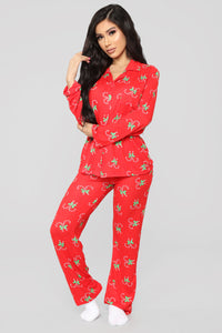 Candy Cane Sweets Pj Set - Red Angle 1