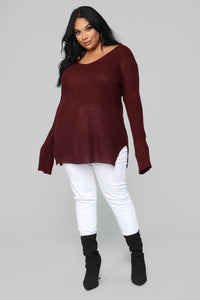 Georgina Caged Back Sweater - Burgundy Angle 7
