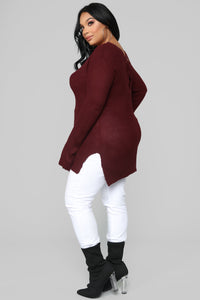 Georgina Caged Back Sweater - Burgundy Angle 9