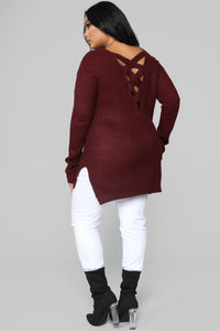 Georgina Caged Back Sweater - Burgundy Angle 11
