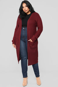 Abella Duster Sweater - Burgundy Angle 6