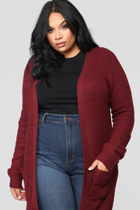 Abella Duster Sweater - Burgundy Angle 7