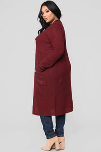 Abella Duster Sweater - Burgundy Angle 8