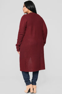 Abella Duster Sweater - Burgundy Angle 10
