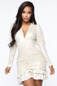 Late Date Night Ruched Mini Dress - Champagne Angle 1