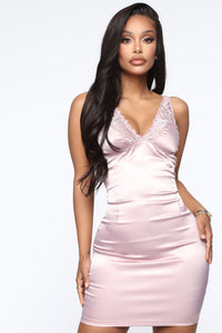 Secret Affair Satin Mini Dress - Mauve Angle 2