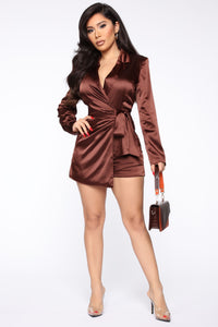Silky Smooth Wrap Romper - Brown Angle 1