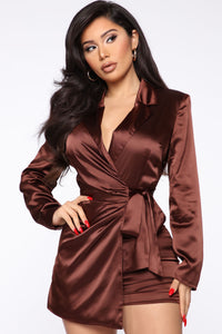 Silky Smooth Wrap Romper - Brown Angle 2