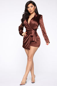 Silky Smooth Wrap Romper - Brown Angle 3