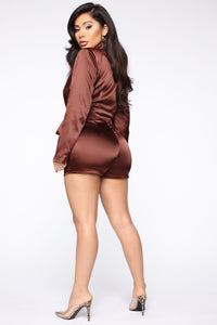 Silky Smooth Wrap Romper - Brown Angle 4