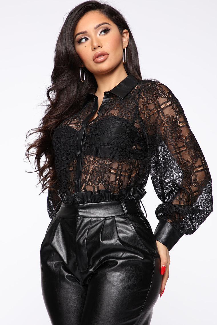 Meet You At Happy Hour Lace Top - Black