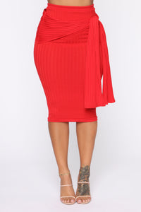 No Tying You Down Skirt Set - Red
