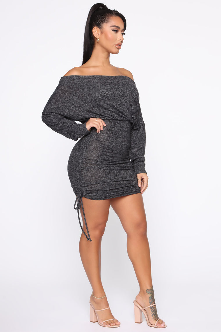 Warm Thoughts Ruched Sweater Dress - Charcoal