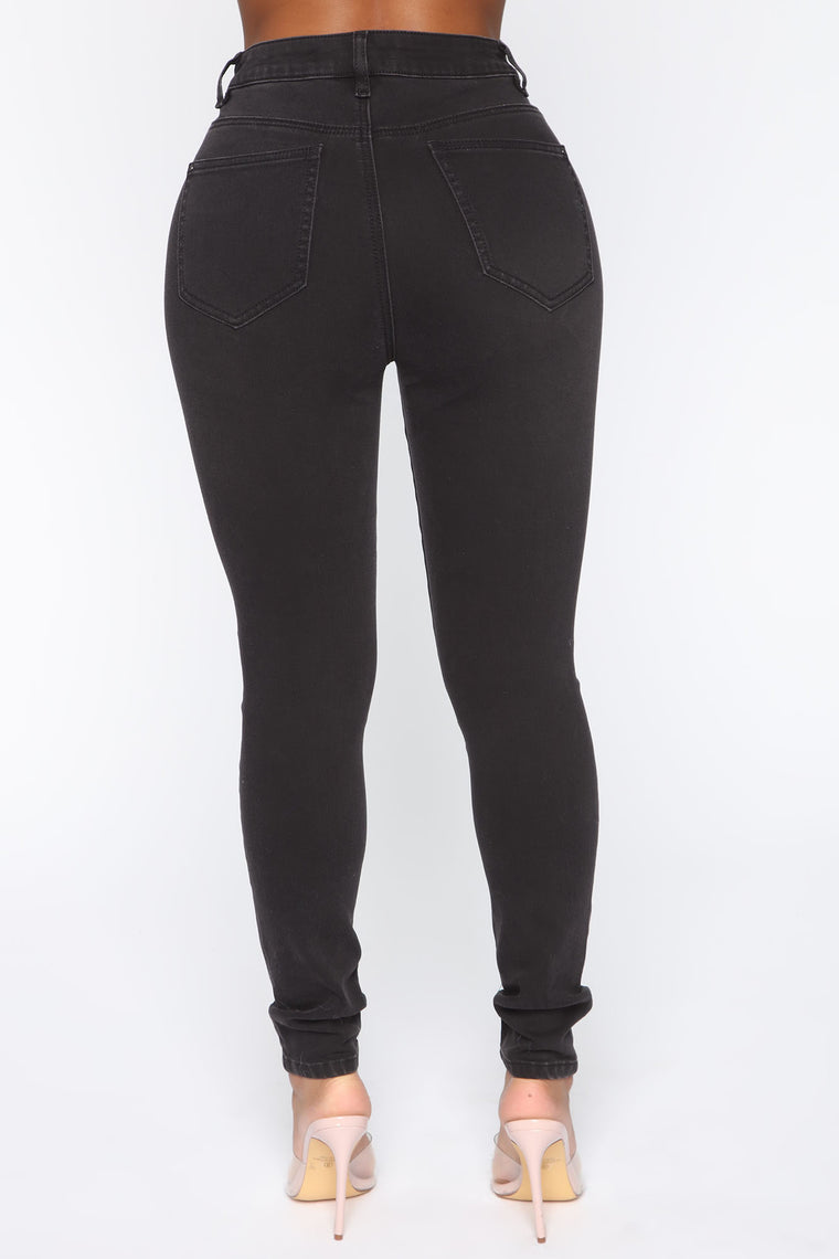 Sparkle And Shine Mid Rise Skinny Jeans - Black