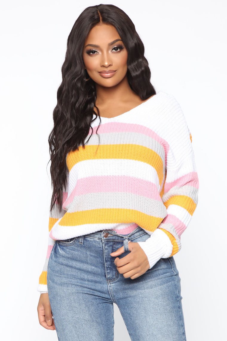 Out There Somewhere Striped Sweater   Ivory/Combo by Fashion Nova