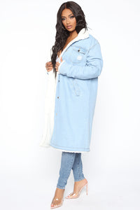 No Hard Feelings Denim Coat - Medium Wash