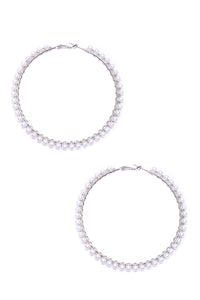 Sweet Pearl Hoop Earrings - Ivory