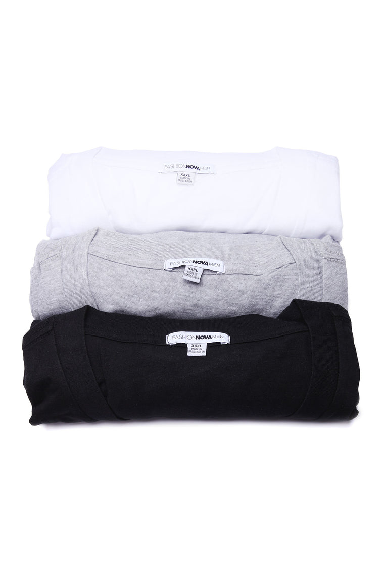 FN Essential V Neck Tees 3 Pack - Black/Combo