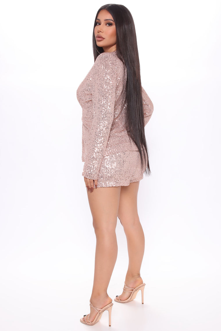Dazzle Us Sequin Short Set - Taupe