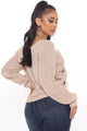 Warm Wishes Ruched Sweater Top - Tan