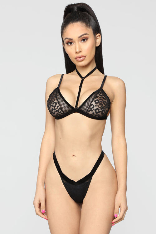Wild Thoughts Of You Bra & Panty Set - Black