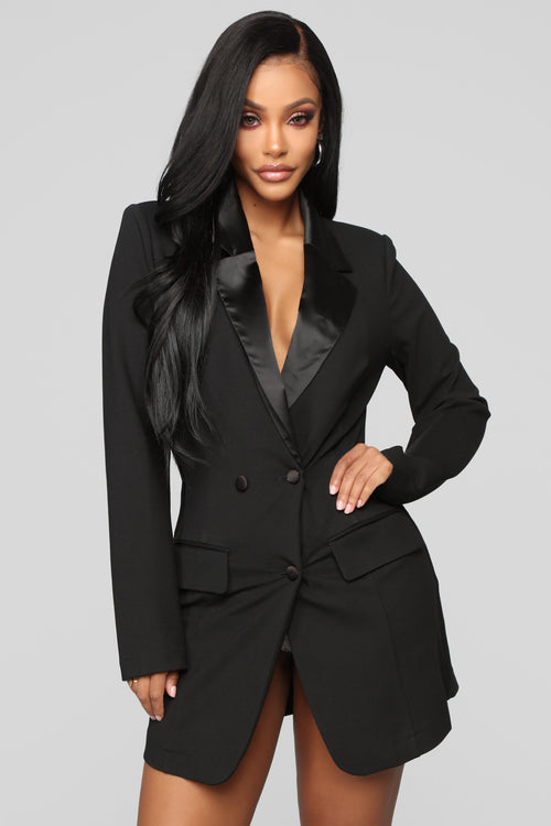 Well Suited Blazer Romper - Black