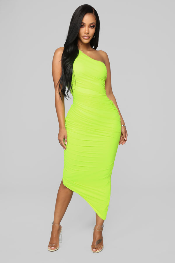c64b3cd90ba3 The Center Of Attention One Shoulder Dress - Neon Yellow