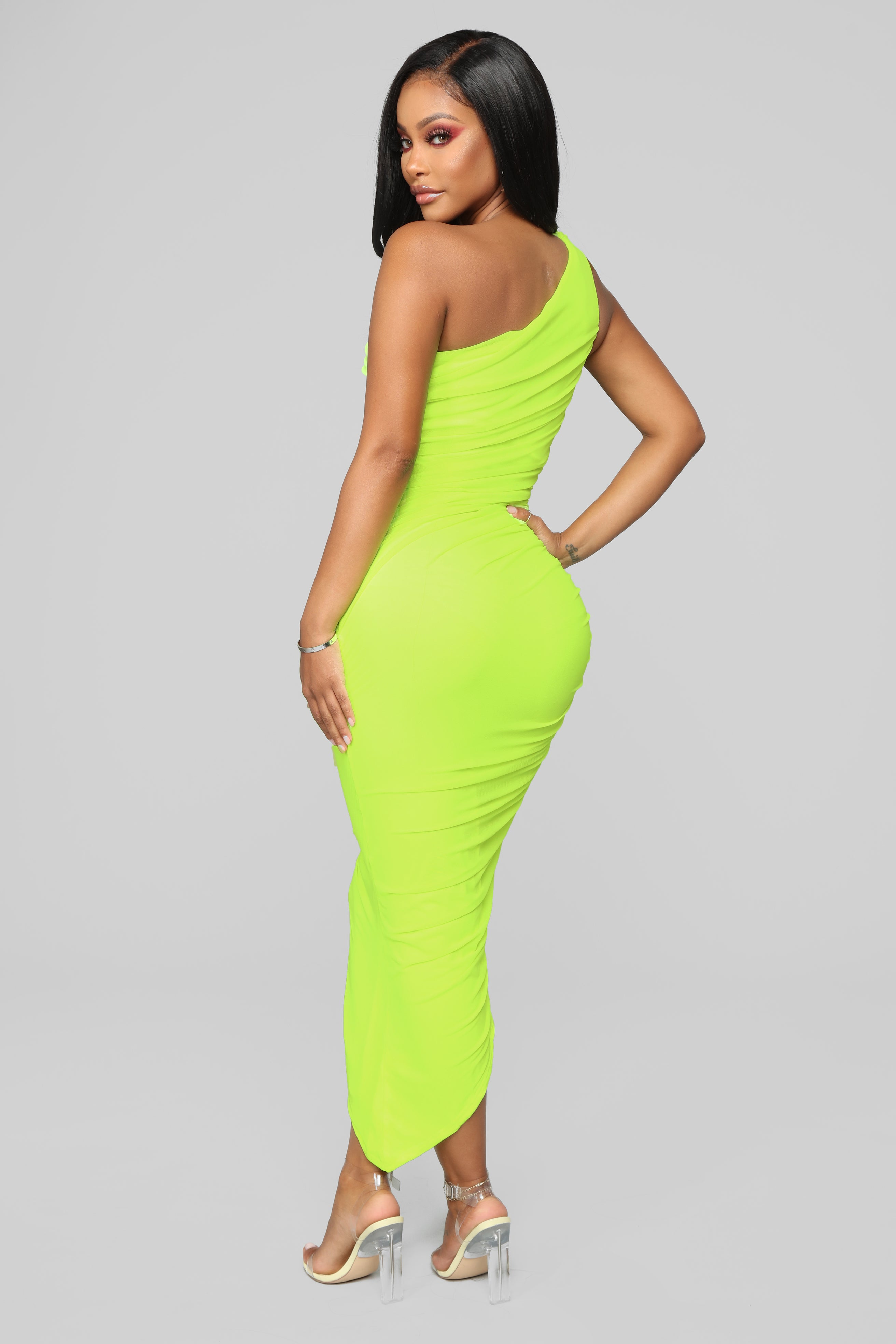 08566222ace1 The Center Of Attention One Shoulder Dress - Neon Yellow