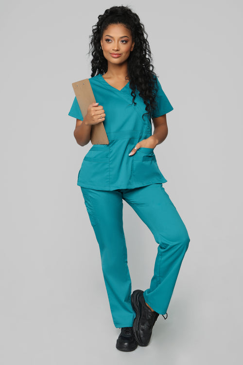 Here To Help Fitted Scrub Set - Teal