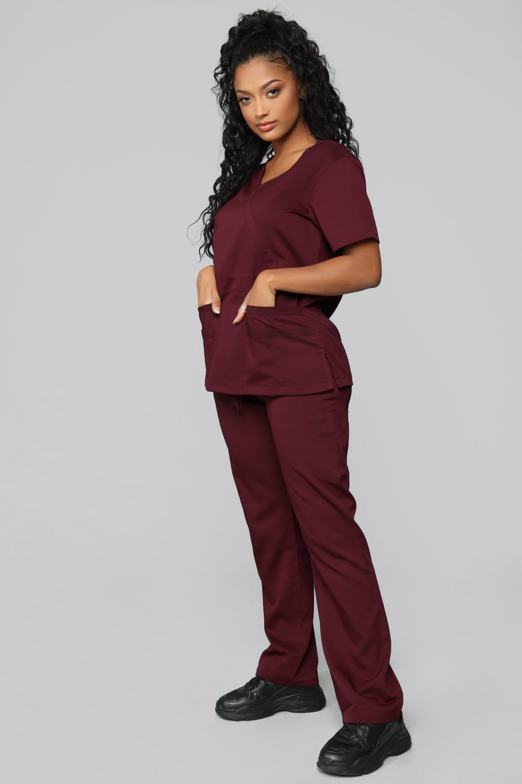Here To Help Fitted Scrub Set - Burgundy