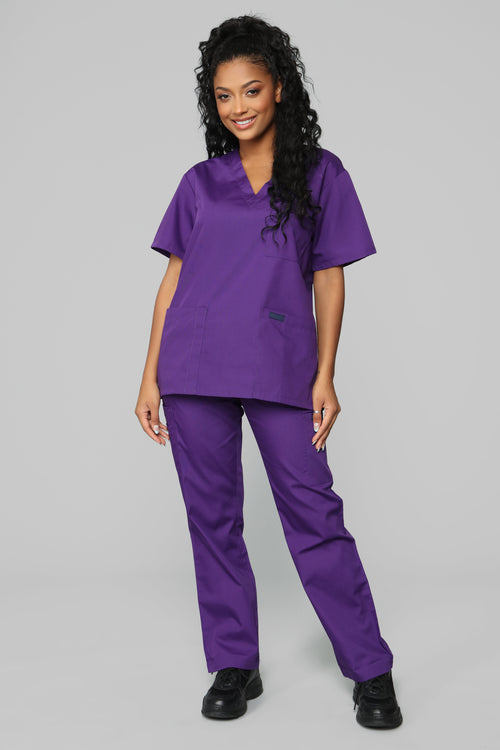Miracle Worker Classic Scrub Set - Eggplant