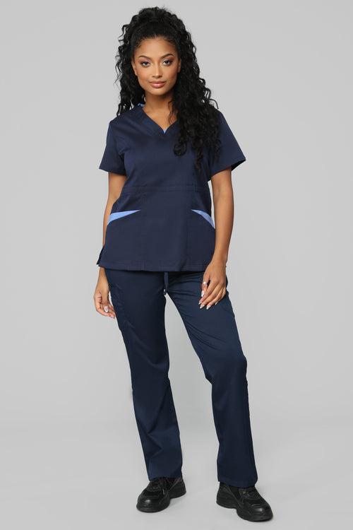 Vital Signs Fitted Scrub Set - Navy/Blue
