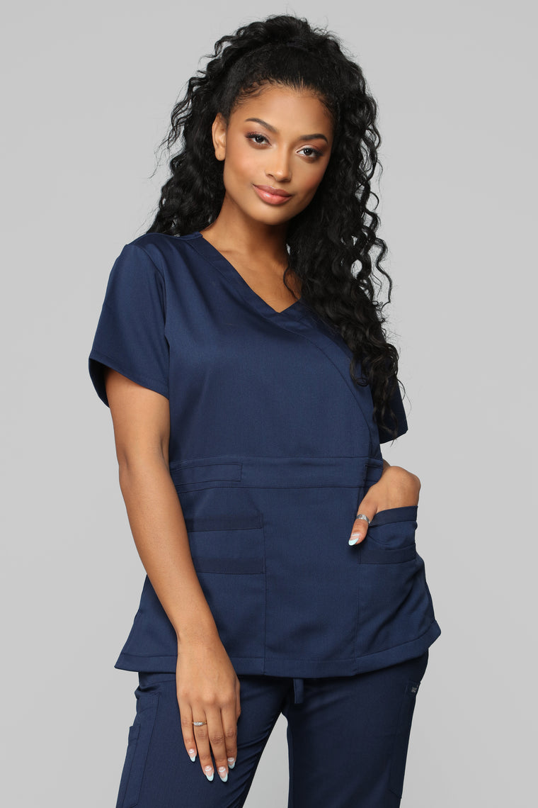 Here To Help Fitted Scrub Set - Navy
