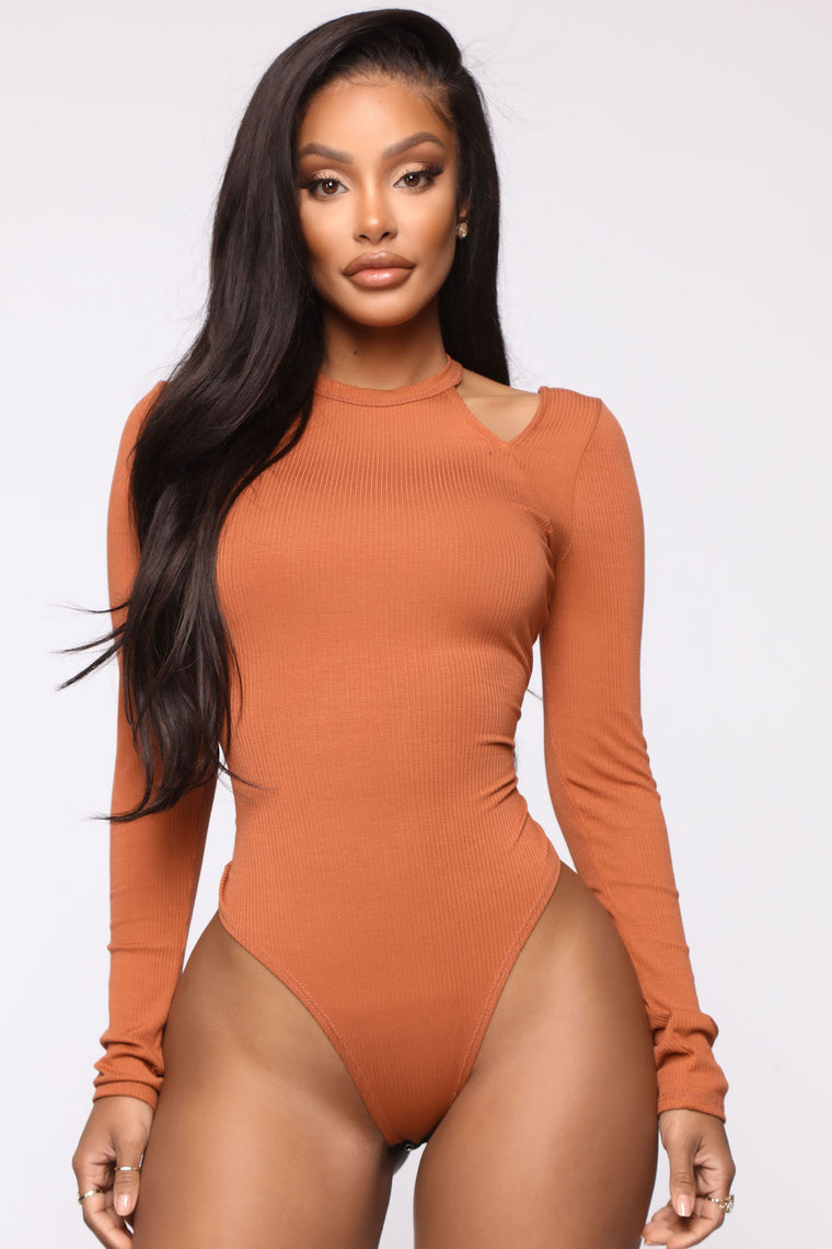 Can't Be In Knit Bodysuit - Rust