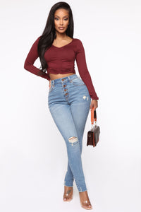 Fell In Love Ruched Top - Wine Angle 2