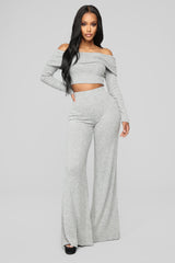 Biting My Lip Pant Set   Heather Grey by Fashion Nova