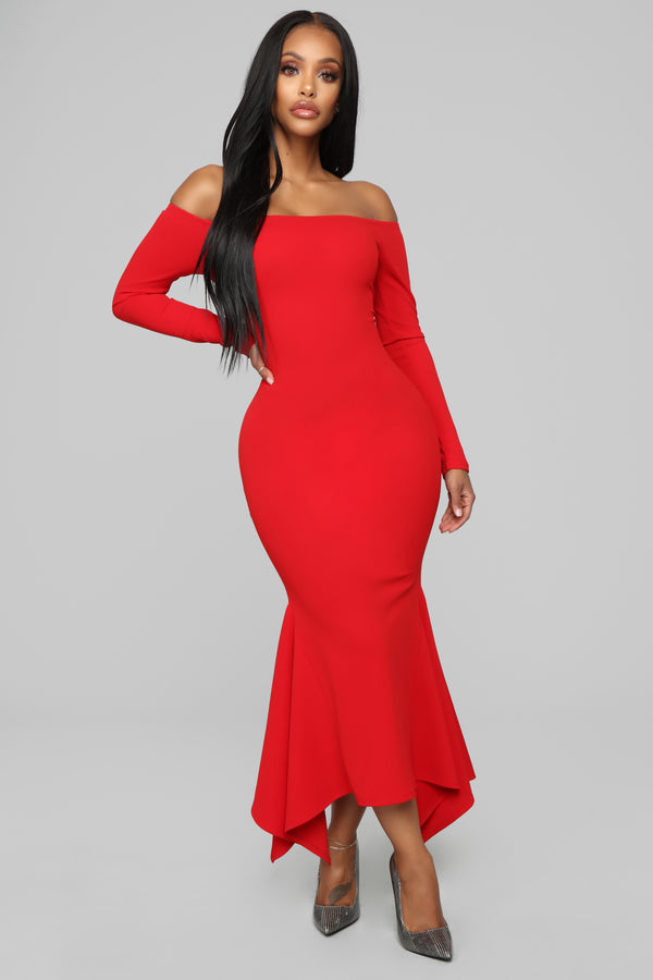 9155e1693d6 Simply Gorgeous Off Shoulder Midi Dress - Red