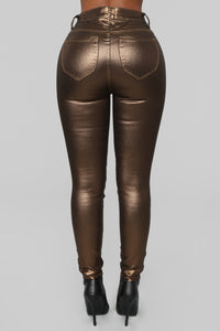 Double Dare Faux Leather Pants - Gold