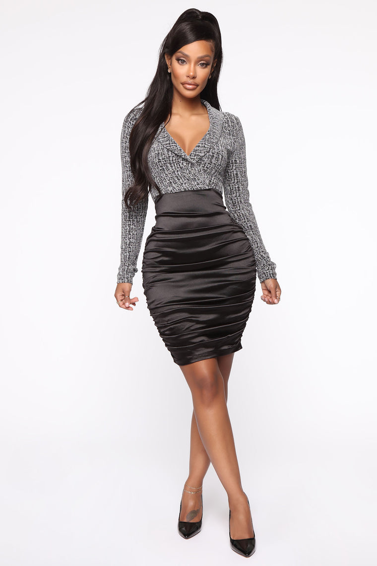 Back On Top Satin Ruched Midi Dress - Black/Silver